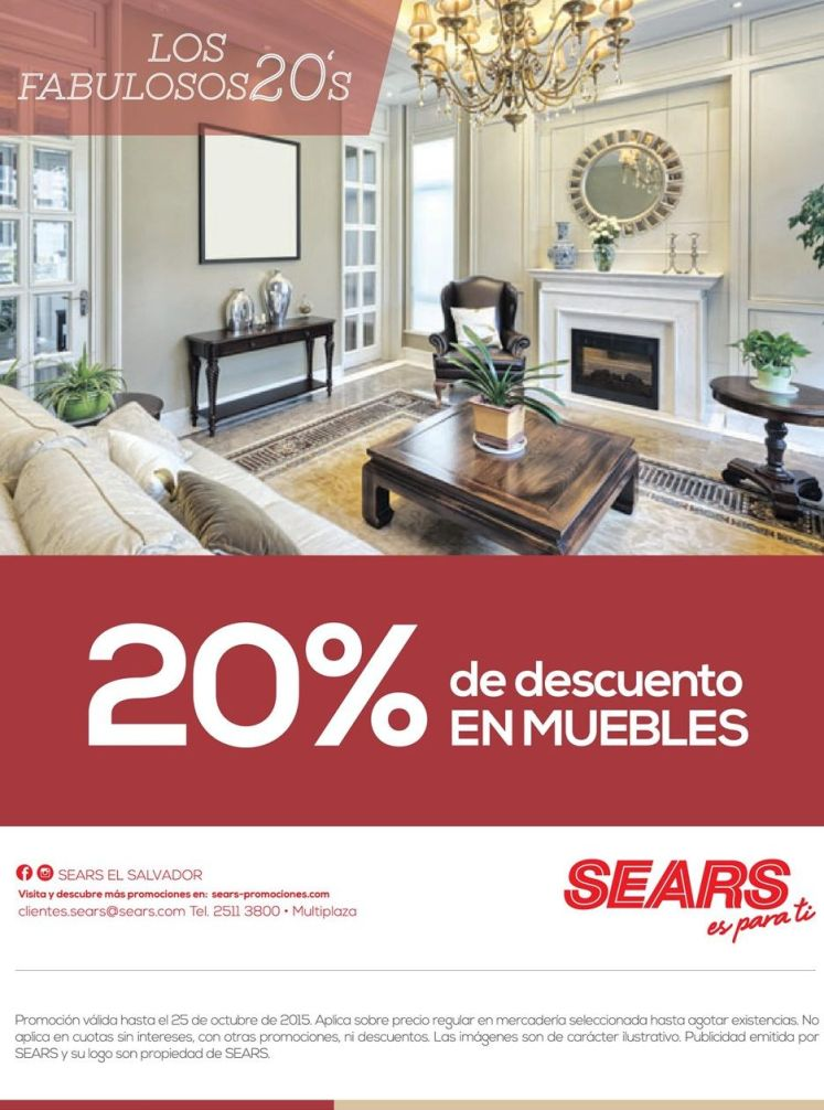 SEARS te ofrece 20 off en muebles - 24oct15