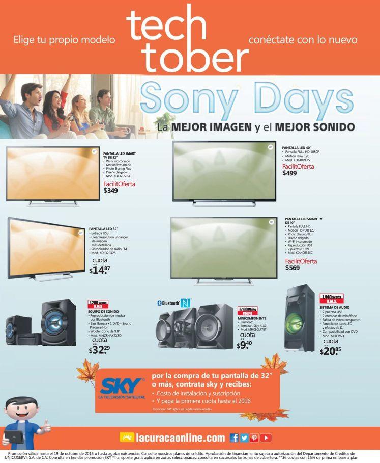 SONY DAYS promociones en pantallas y equipos de sonido con suscripcion SKY tv satelital