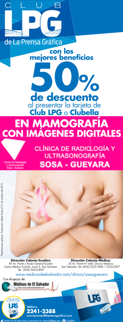 descuentos 50 off en mamografia digital y ultrasonido