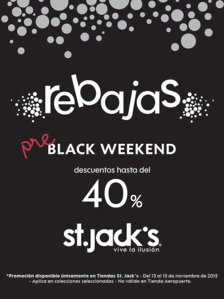 rebajas PRE black weekend st jacks el salvador - 13nov15