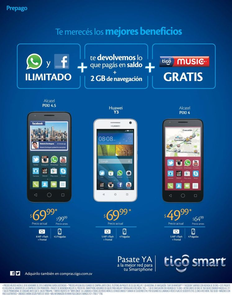 whatsapp ilimited and facebook access TIGO smart promotions