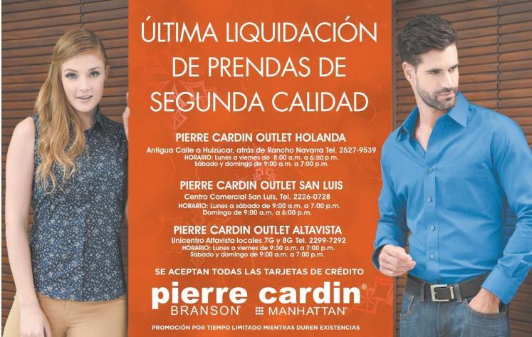 Ultima liquidacion de ropa del año 2015 PIERRE CARDIN