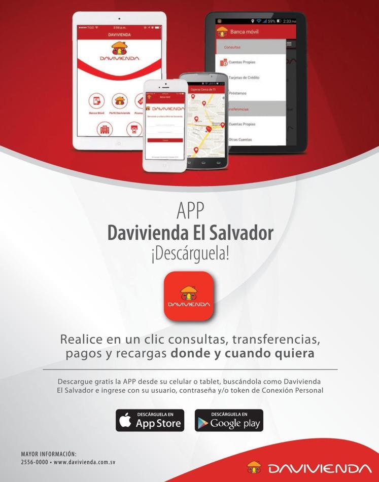 Descargar App banca electronica DAVIVIENDA El salvador