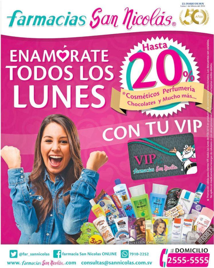 Farmacias San Nicolas Todos los lunes 20 off en cosmeticos y perfumeria