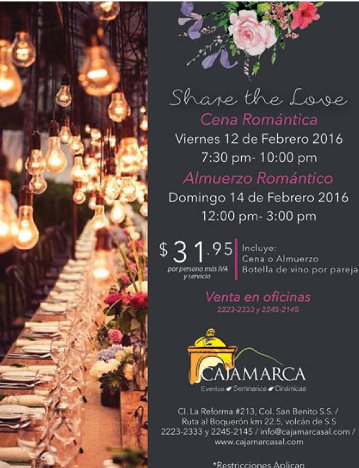 Share de love Romantic dinner for san valentine 2016