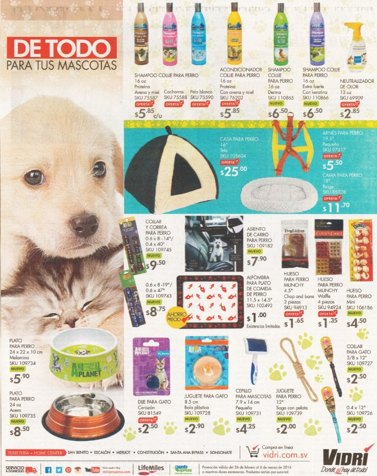VIDRI promociones en Productos para atender a tus mascota - Febrero 2016