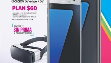 Ahora gran venta DIGICEL samsung s7 mas gafas Gear VR PLAN 60 dolares