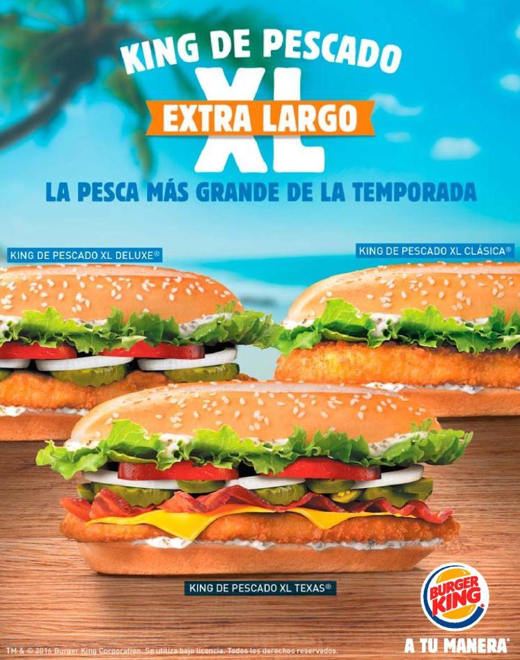 Burger King promocion de semana santa KING de pescado