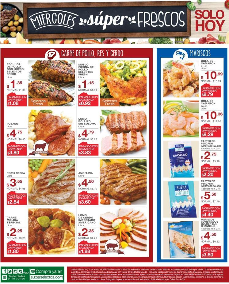 MIercoles FRESCOS selectos carnes pollo mariscos cerdo - 30mar16