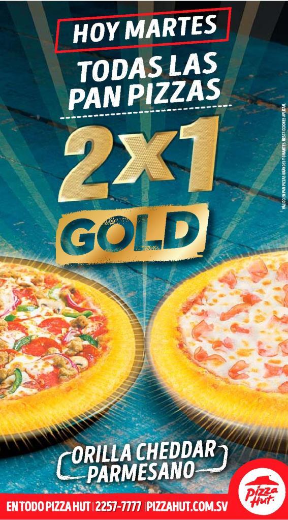 Promciones de PIZZA HUT los martes 2x1