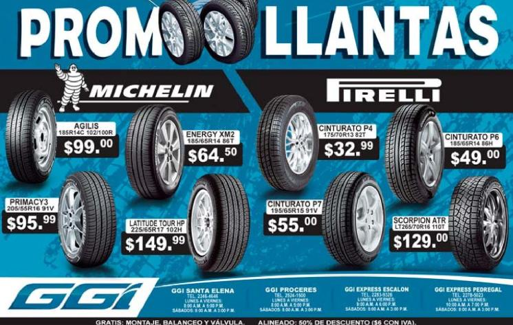 Promociones en llantas michellin y PIRELLI