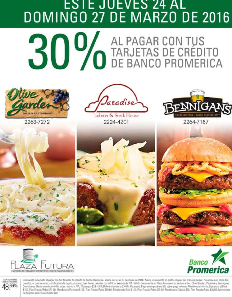 restaurante con 30 OFF en plaza futura gracias con banco Promerica