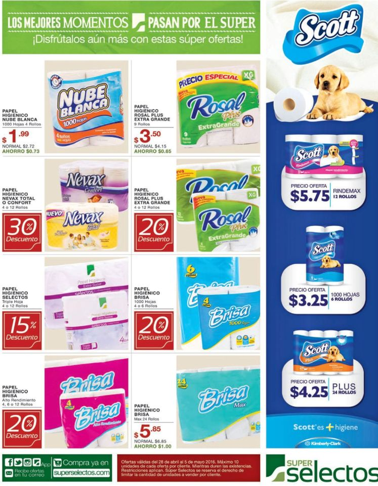 Ahora descuento en papel higienico de todas las marcas selectos - 28abr16