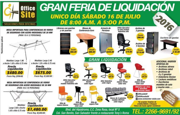 Feria de liquidacion en muebles de oficina