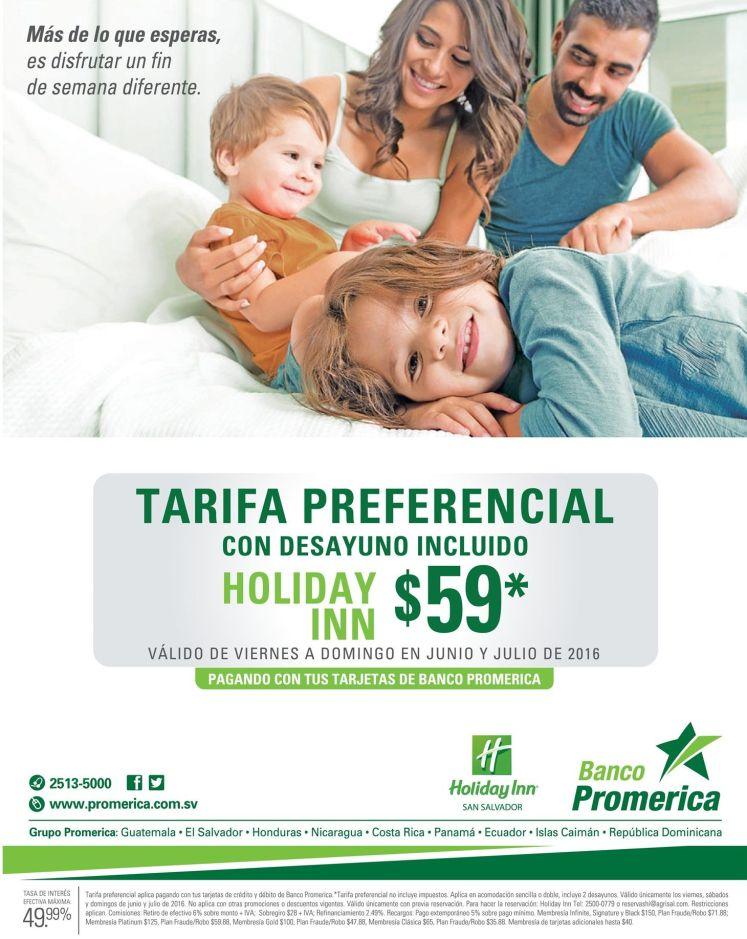 NOCHE holiday INN 59 dolares con banco promerica promociones