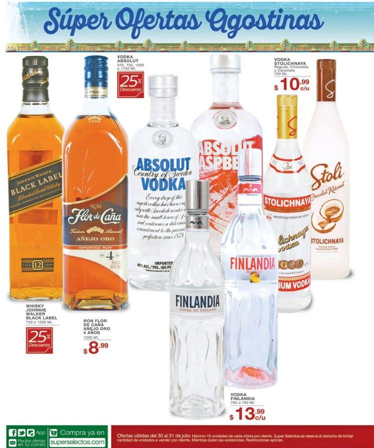 Ofertas en ROn vodkas en super selectos agosto 2016