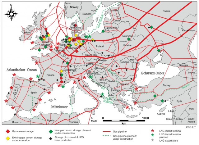 Natural gas pipelines, LNG terminals and storage caverns in Europe (Source: KBB Underground Technologies GmbH).