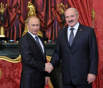 Lukashenko and Putin during the CSTO Collective Security Council meeting in Moscow, 2012.