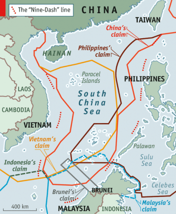 Map of territorial disputes in South China Sea.