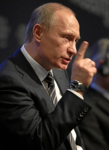 Russian prime minister Vladimir Putin addresses the World Economic Forum in Davos, Switzerland on January 29, 2009
