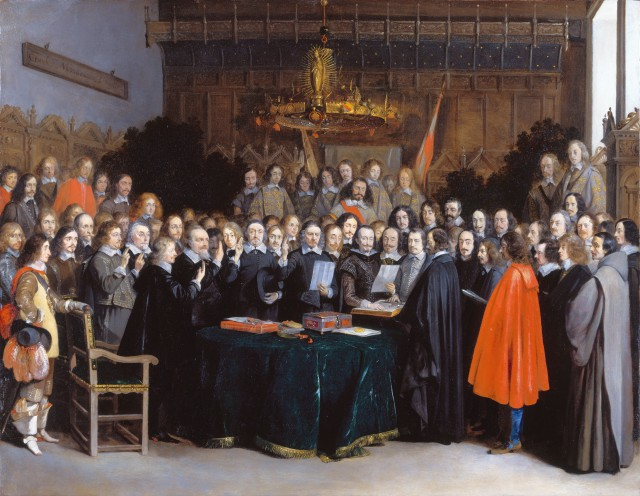 The Peace of Westphalia was a series of peace treaties signed between May and October 1648 in Osnabrück and Münster. These treaties ended the Thirty Years' War (1618–1648) in the Holy Roman Empire, and the Eighty Years' War (1568–1648) between Spain and the Dutch Republic, with Spain formally recognizing the independence of the Dutch Republic. The image shows the Ratification of the Peace of Münster (Gerardter Borch, Münster, 1648; Source: Wikipedia).