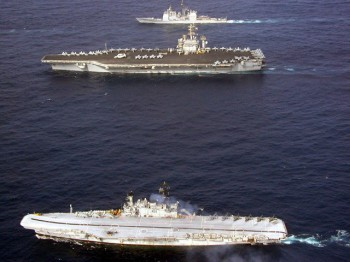 USS Nimitz and INS Viraat during Exercise Malabar 2007.