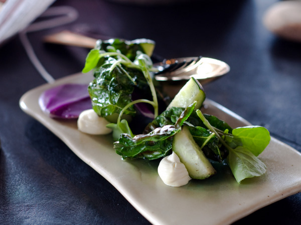 Smoked cheese and watercress salad
