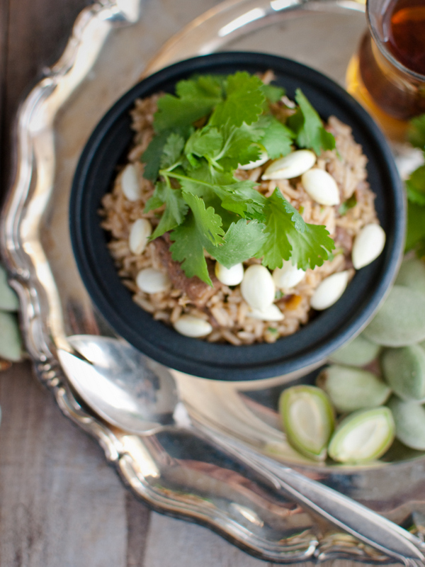 Lamb pilaf with green almonds