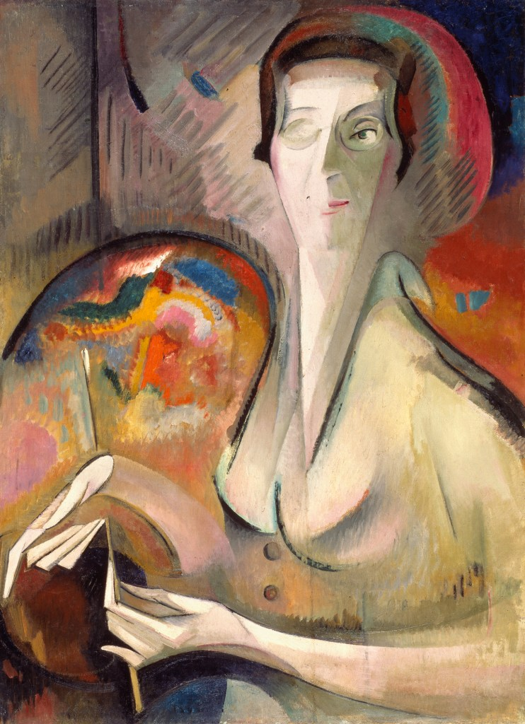 Alice Bailly, Self-Portrait, 1917; Oil on canvas, 32 x 23 ½ in.; Gift of Wallace and Wilhelmina Holladay