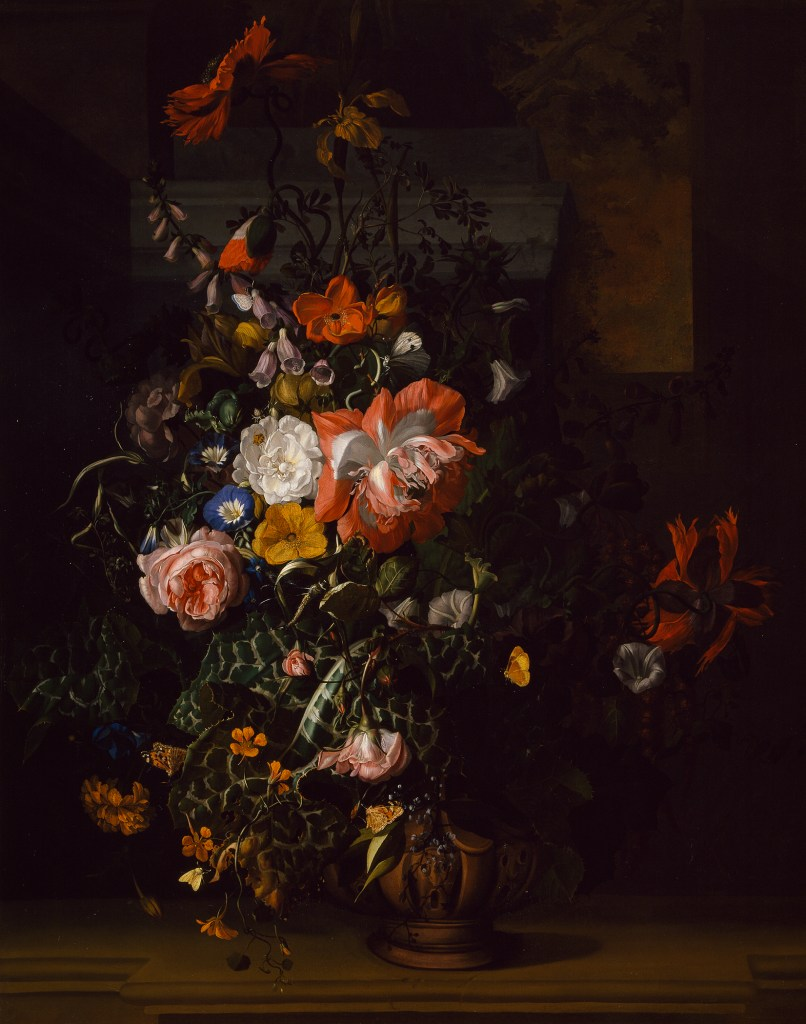 Rachel Ruysch, Roses, Convolvulus, Poppies and Other Flowers in an Urn on a Stone Ledge, ca. 1745; Oil on canvas, 42 ½ x 33 in.; Gift of Wallace and Wilhelmina Holladay