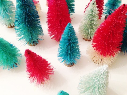 DIY colorful bottle brush trees   Holiday DIY   Oh Lovely Day