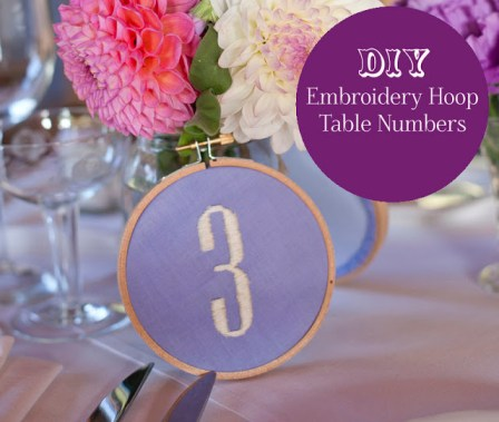 embroidery hoop table number DIY tutorial for weddings and events