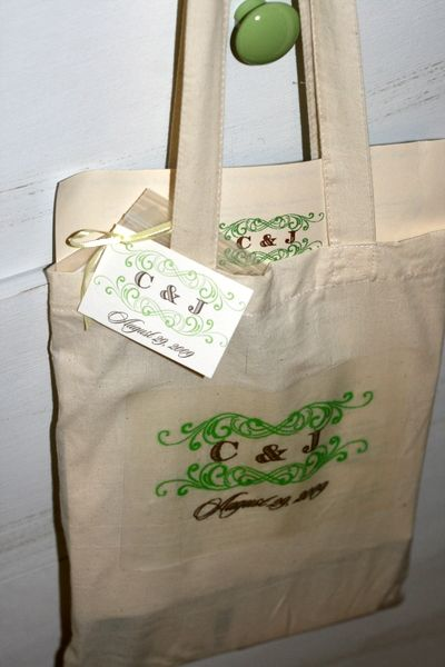 We incorporated our monogram in the out of town bags and on the bags themselves