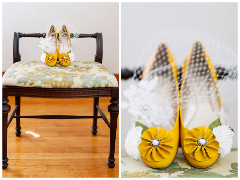 pretty yellow bridal shoes | handmade North Carolina wedding | Nathan Abplanalp Photography