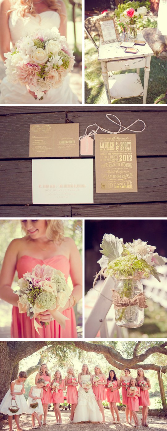 coral and peach malibu wedding