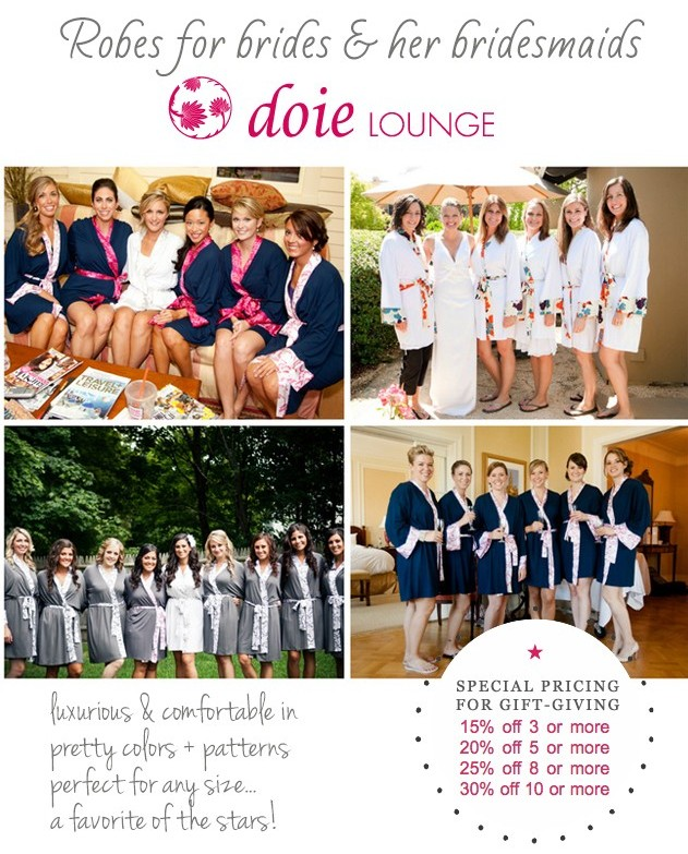 robes for the bride and her bridesmaids from doie lounge