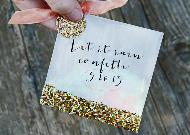 DIY confetti favor bags