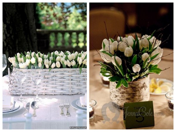 white tulips spring centerpiece ideas