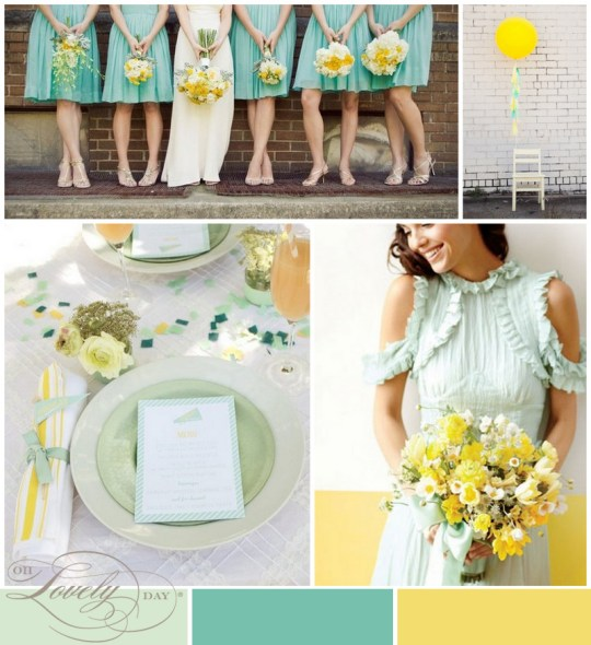 mint + yellow wedding inspiration