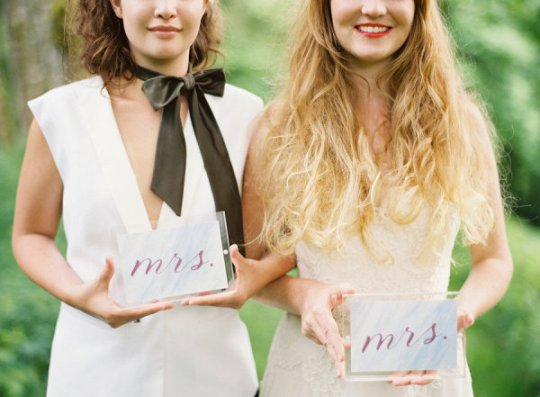 mrs and mrs signs | celebrating same sex marriage | photo by erich mcvey