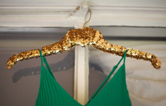 DIY Gold Sequin Hanger from Oh Lovely Day | photo by Amy Stone Photography