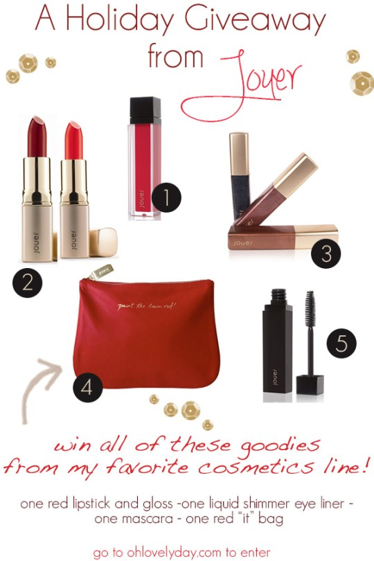 A holiday giveway from Jouer Cosmetics on Oh Lovely Day