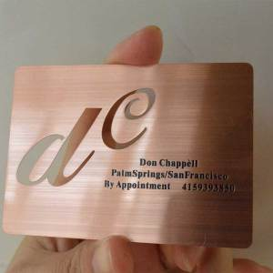 Rose Gold Metal Cards with Cut out - shipped to California