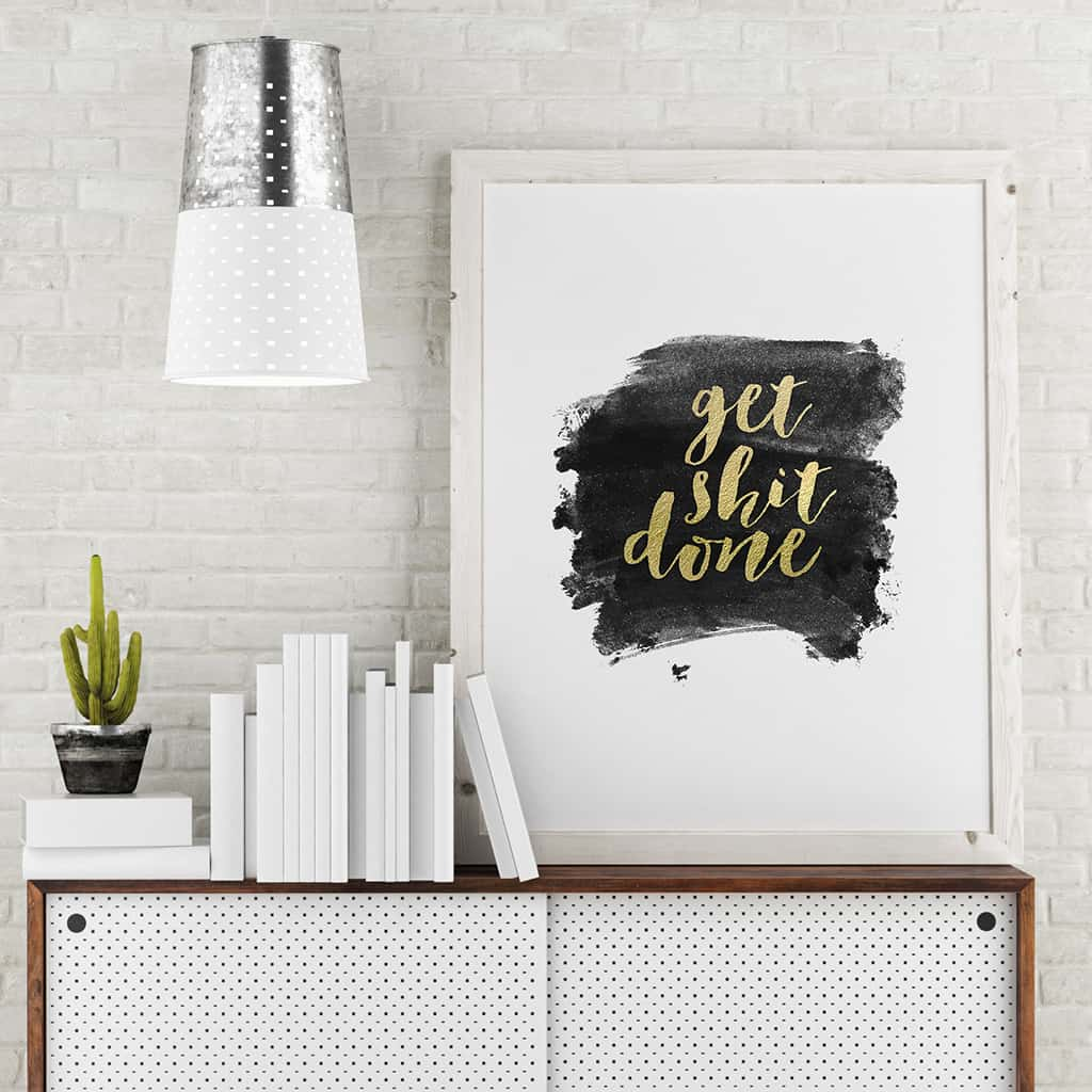 gold foil get shit done paint swoosh free printable