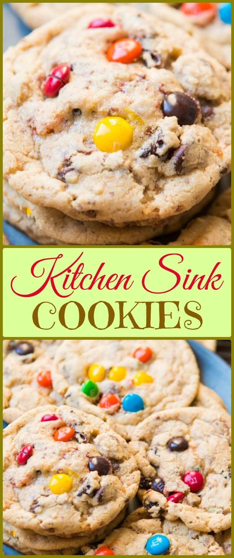 kitchen sink cookies recipe kitchen sink cookies Kitchen Sink Cookies are everything you could ever want in a cookie chocolate raisins