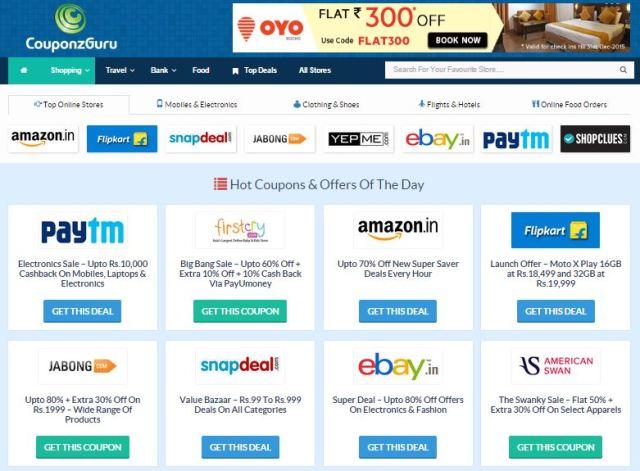 Various coupons on couponzguru.com