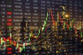 stock ticker over skyline