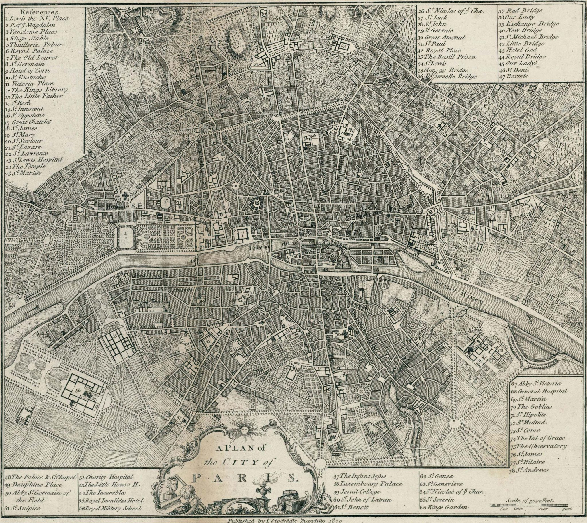 Old Map of Paris 1800 Click on the image to see or download the full size version