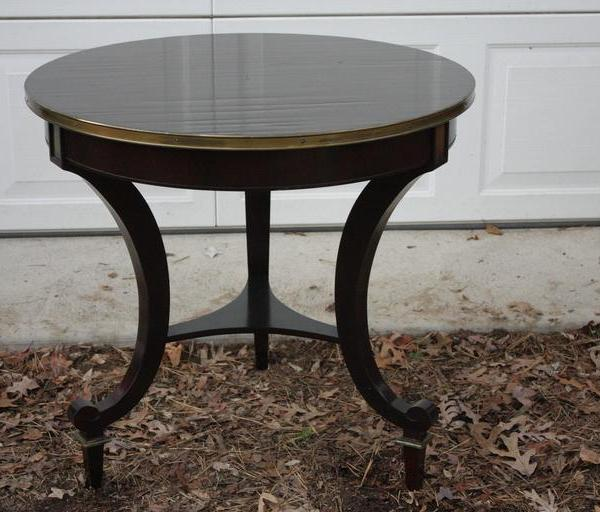 Hall Side Table 1940's round mahogany center hall side table narrow brass lip and