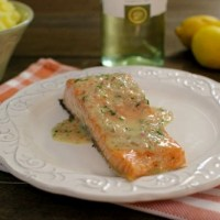 Roasted Salmon With White Wine and Lemon Butter Sauce